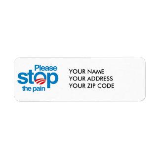 Please stop the pain return address labels