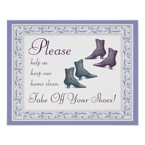 Please Take of Your Shoes Sign – Stylish Victorian Vintage Look