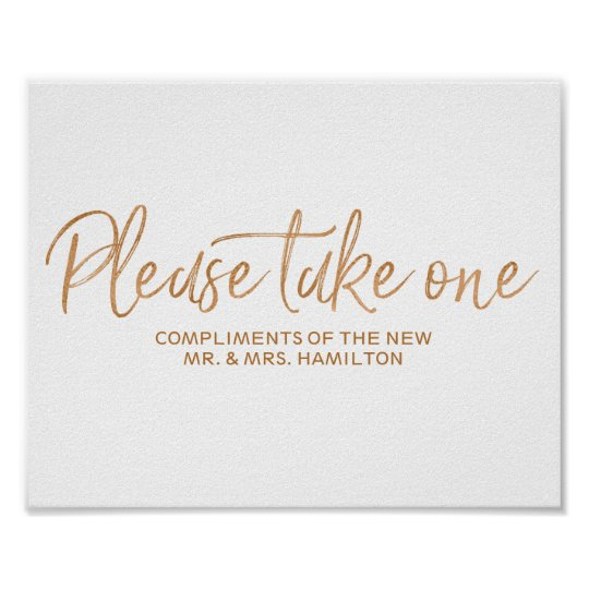 Please Take One 8x10 Rose Gold Wedding Favors Sign Zazzle