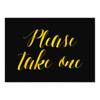 """Please take one"" Faux Gold Foil Chic Wedding Sign Card"