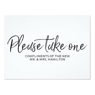 """Please take one"" Wedding Favors Lettered Sign Card"