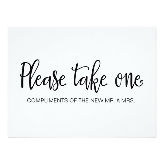 Please Take One Wedding Favors Sign Card