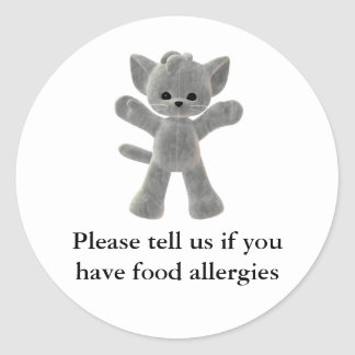 Please tell us if you have food allergies round sticker