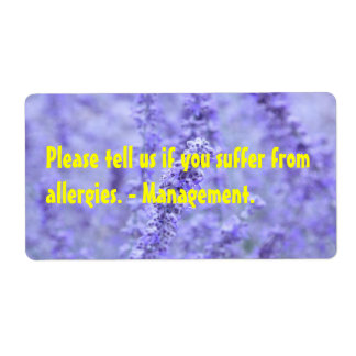 Please tell us if you suffer from allergies shipping label