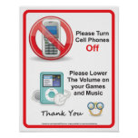 Please Turn Off Cell Phones Office Sign Print