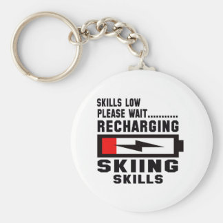 Please wait recharging Skiing skills Basic Round Button Keychain