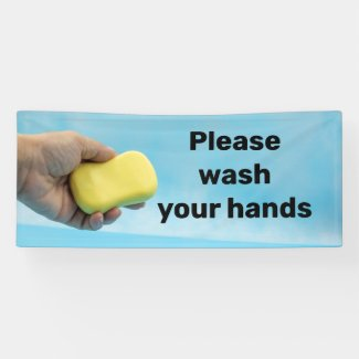Please wash your hand with soap banner