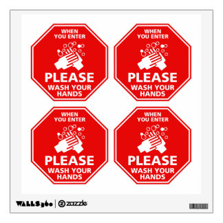 Please Wash Your Hands Door Decal Stop Sign Red