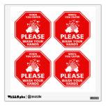 Please Wash Your Hands Door Decal Stop Sign Red Room Stickers