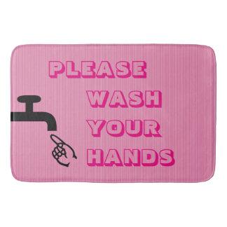 Please Wash Your Hands,Pink-Large Bath Mat