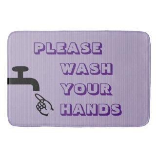Please Wash Your Hands,Purple-Large Bath Mat