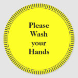 Please Wash Your Hands Round Stickers