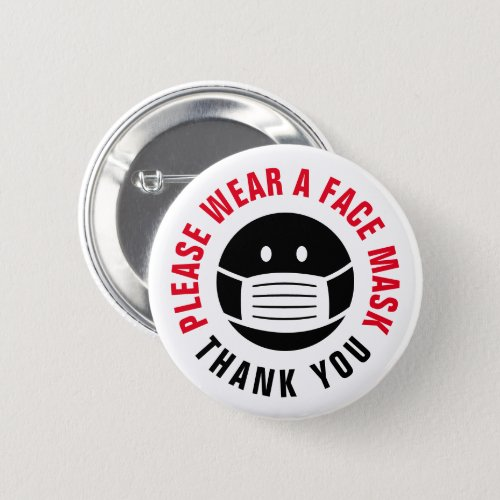 Please wear a face mask cover required button
