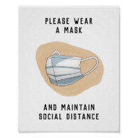 Please Wear a Face Mask Minimalist Abstract Tan Poster