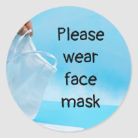 Please wear face mask hand hold face mask classic round sticker