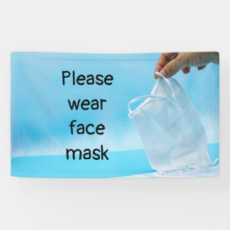 Please wear face mask hand holding face mask banner