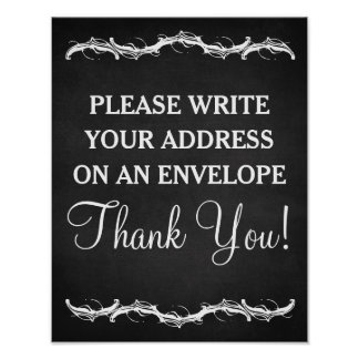 Please write your address chalkboard wedding sign poster