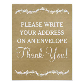 Please write your address rustic chic wedding sign poster