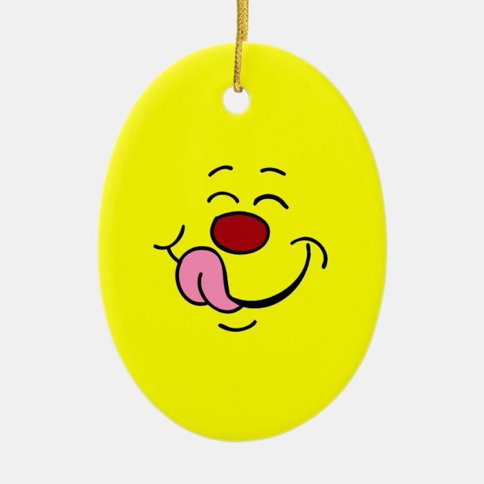 Pleased Smiley Face Grumpey Ceramic Ornament