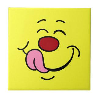 Pleased Smiley Face Grumpey Ceramic Tile