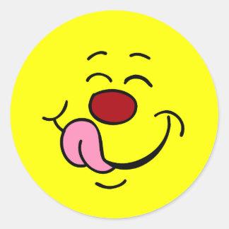 Pleased Smiley Face Grumpey Classic Round Sticker