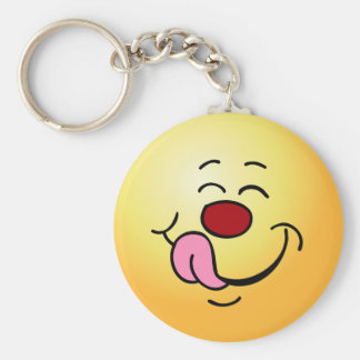 Pleased Smiley Face Grumpey Keychain