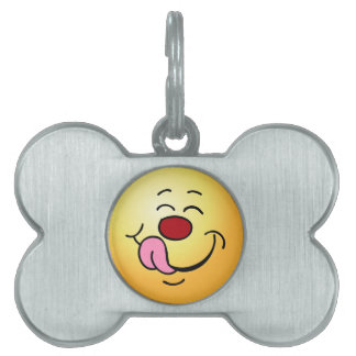 Pleased Smiley Face Grumpey Pet ID Tag