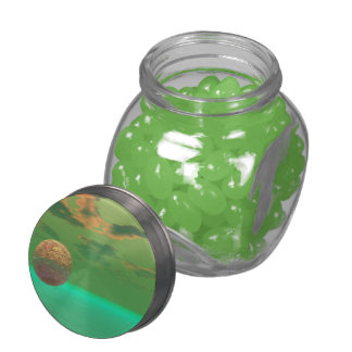 Pleasure, Abstract Gold Green Delight in Life Glass Jars