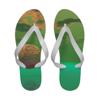 Pleasure, Abstract Gold Green Delight in Life Sandals
