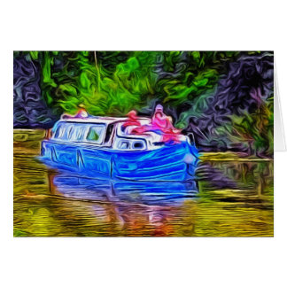 Pleasure Boat on Canal Card