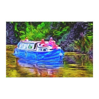 Pleasure Boat on Canal Gallery Wrapped Canvas