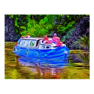Pleasure Boat on Canal Postcard