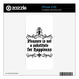 Pleasure Is Not Asubstitute For Happiness Medieval iPhone 4S Skin