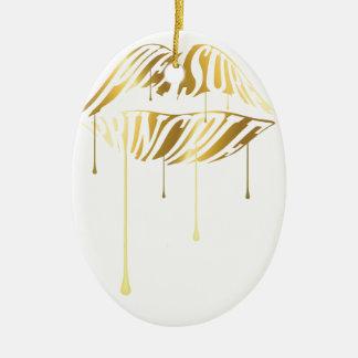Pleasure Principle Double-Sided Oval Ceramic Christmas Ornament