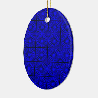 Pleated-Corners-BLUE-OVAL ORNAMENT