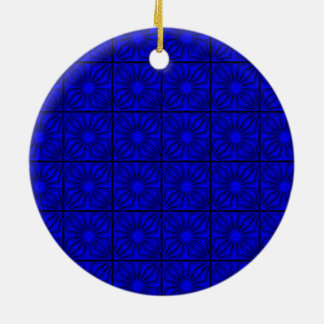 Pleated-Corners-BLUE-ROUND ORNAMENT