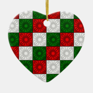 Pleated Corners-Red-White-Green-Hrt ORNAMENT
