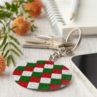 Pleated Corners-Red-White-Green-KEY CHAIN Keychain