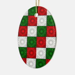 Pleated Corners-Red-White-Green-OVAL ORNAMENT