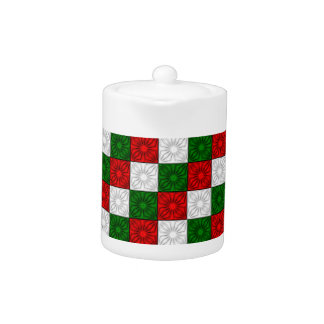 Pleated Corners-Red-White-Green TEA POT