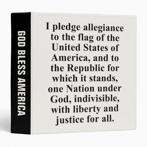 Pledge of Allegiance 3 Ring Binder