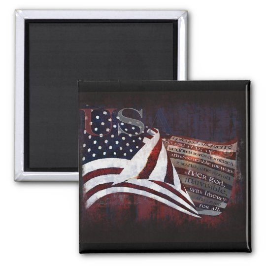 Pledge of Allegiance gifts & Greetings 2 Inch Square Magnet