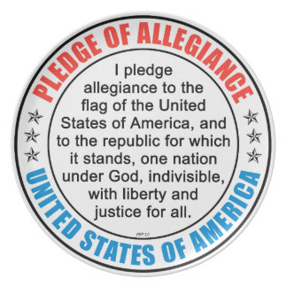 Pledge of Allegiance Melamine Plate