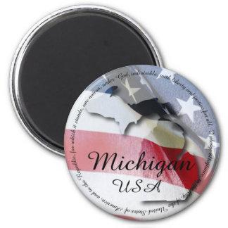 Pledge of Allegiance & Michigan 2 Inch Round Magnet