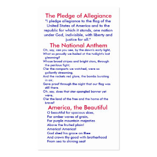 Pledge of Allegiance/ National Anthem/ America Double-Sided Standard Business Cards (Pack Of 100)
