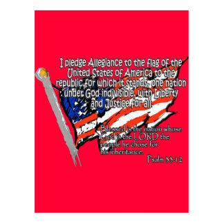 Pledge of Allegiance Psalm 33:12 Postcard