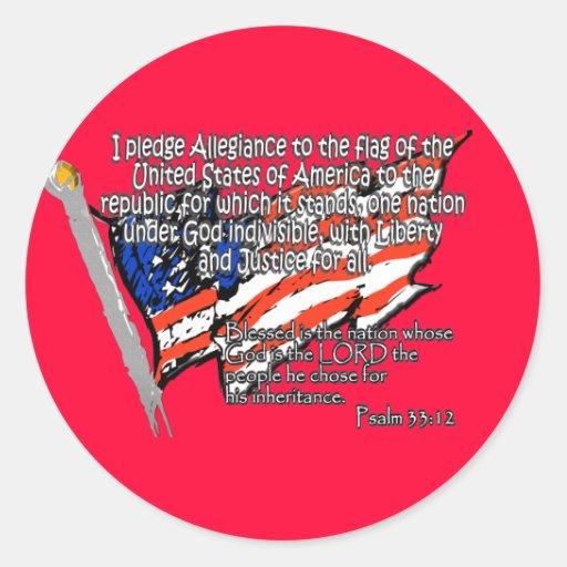 Pledge of Allegiance Psalm 33:12 Round Stickers