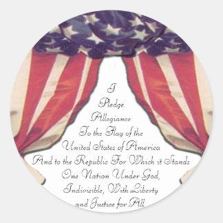 Pledge of Allegiance Round Stickers