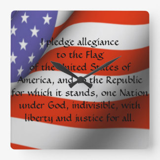 Pledge of Allegiance Square Wall Clock