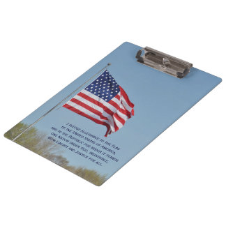 Pledge Of Allegiance USA Flag Clipboard by Janz